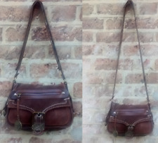 MISS SIXTY BROWN GENUINE LEATHER SUEDE CROSS BODY SHOULDER BAG