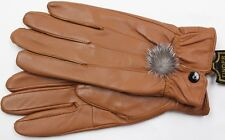 WOMEN'S LT BROWN LAMBSKIN LEATHER WINTER EVERYDAY DRIVING GLOVES GV205 L S