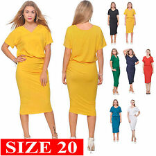 WOMENS ELEGANT DOLMAN SHORT SLEEVE BLOUSON MIDI DAY EVENING DRESSES SIZE 20 XXL