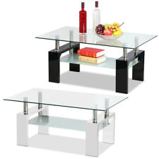 Modern 2 Tier Clear Glass & Wooden Rectangular Coffee Table Dinner Home Office