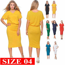 WOMENS ELEGANT DOLMAN SHORT SLEEVE BLOUSON MIDI DAY EVENING TEA DRESS SIZE 4 S