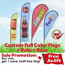 Custom Teardrop Feather Swooper Color Flag Banner +Pole+Base +1 extra FREE 3x5ft