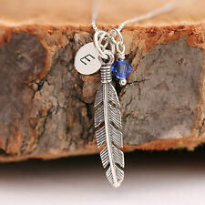 Sterling Silver Personalized Angel Feather Pendant Chain Necklace & Birthstones