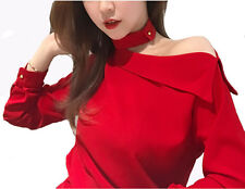 2017 New Women Spring Fashion Korean Off Shoulder Long Sleeve Shirt Tops Blouse