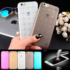Thin Silicone Gel Shock Case Cover For Apple iPhone 6 6S 5 5S + Tempered Glass