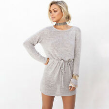 New Womens Backless Long Sleeve Jumper Casual Knitted Sweater Tunic Mini Dress