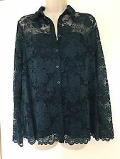 M&S Per Una green teal floral lace collar long sleeve button shirt uk size 10