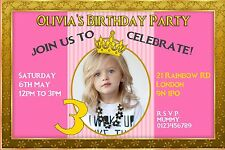 10 Personalised pink gold princess first birthday invitations, thank you cards