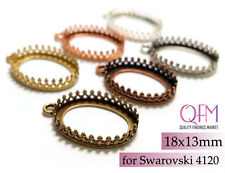 5pcs Oval Crown Bezel Cup 18x13mm Brass with 1loop Brass, Copper, Silver plated