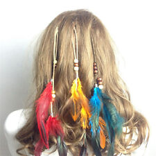 New Headdress Indian Feather Hair Ornaments Clip Feathers Tassel Hair Piece TSUS