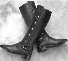 Michael Kors Carney Black Leather Fashion Knee High Boots (15' Shaft Height) 5.5
