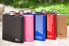 "Personalized ""Initial"" Flask, Custom Engraved Flask RED, BLUE, BLACK, Pink, Leat"