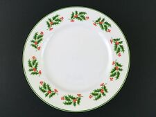 Horchow White Green Stripe Border Holly Ivy Holiday Christmas Dinner Salad Plate