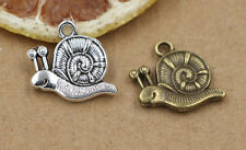 Wholesale  8/30pcs lovely Tibet Silver two-sided snail Charms Pendant 28x15mm