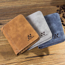 Men's PU Leather ID Credit Card Holder Clutch Bifold Coin Purse Wallet Pockets