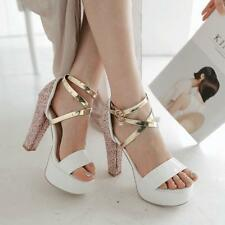 New womens open toe strap high chunky heels party platform shoes bling sandals