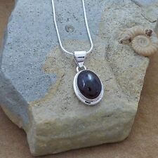"""New 925 Sterling Silver & Garnet Pendant Necklace on an 18"""" Snake Chain"""