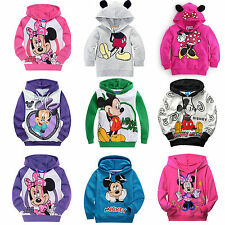 Kids Boys Girls Cartoon Mickey Minnie Hoodies Hooded Pullover Tracksuit Top Coat