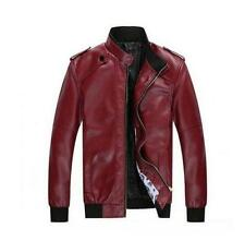 Fashion Mens faux Leather Coat Slim fit collar Casual Moto Jackets Outerwear new