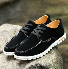 Mens casual lace up faux suede sneaker tennis flat board shoes oxford plus size