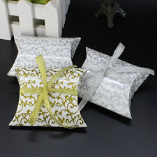 50pcs Paper Pillow Candy Box Wedding Favors Baby Shower Party Gift Bags W/Ribbon