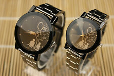 New Mens/Womens Couple's Gift Stainless Steel Watches Quartz Analog Wrist Watch