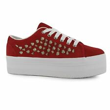 Jeffrey Campbell Play zOMG Platform Shoes Womens Red/Silver Trainers Sneakers