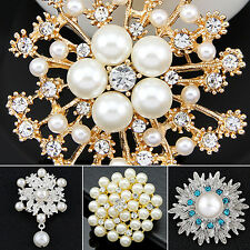 Alloy Flower Faux Pearls Brooch Crystal Pin Brooches Wedding Party Gift Proper