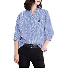 New Fashion Women Striped Loose 3/4 Puff Sleeve Blouse Shirt Top Korean Office