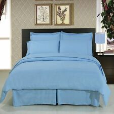 US FULL SIZE SKY BLUE SOLID 1000TC 100%EGYPTIAN COTTON US NEW SHEET SET