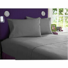 US FULL SIZE GRAY SOLID 1000TC 100%EGYPTIAN COTTON US NEW SHEET SET