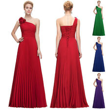 One Shoulder Bridemaid Cocktail Party Ball Gown Evening Long Pleated MAXI Dress,