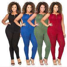 Women Ladies Sexy Tigth Strappy Jumpsuits Sleeveless Long Pants Round Collar