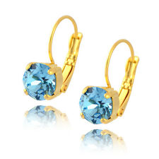 Nara Round Crystal Drop Earrings, Gold Plated with Swarovski Circle