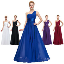 Long Chiffon One Shoulder Evening Party Formal Bridesmaid Prom Ball Gowns Dress