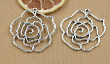 2/8/30 PCS Tibet silver hollow out flower jewelry charm pendant 42x42mm