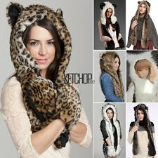 New Warm Winter Faux Fur Cute Animal Hat Fluffy Plush Cap Hood Scarf Shawl Glove