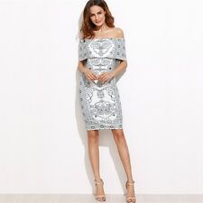 Women Autumn White Color Printed Foldover Off The Shoulder Ruffle Short Dress
