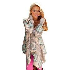 Women New Fashion Print Pink Color Long Sleeved Cardigan Sweater