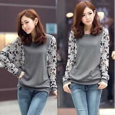 Women Autumn Winter Fashion Lace Patchwork Long Batwing Sleeve Pullover Top Xxl