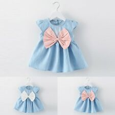 Toddler Infant Kids Baby Girls Summer Dress Princess Party Wedding Bow Dresses