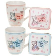 Teddy Bear Mum China Mug and Coaster Set - Ideal Cup Gift for Mothers Day