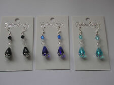 Pretty 925 Stamped Sterling Silver Earrings  Crystal/etc Ideal Gift