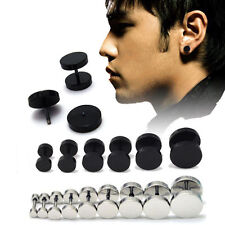 1Pair Unisex Mens Womens Barbell Punk Gothic Stainless Steel Ear Studs Earrings