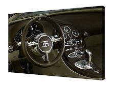 "Bugatti Veyron Super Car Interior 30x20"" Canvas Wall Art Picture Print Framed"