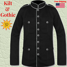New Military Jacket Black White & Red Goth Steam punk Army Officer Pea Coat