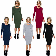 Knitted Dress Ribbed Cutout Ball knee length S 34 36 Long Pullover Sweater