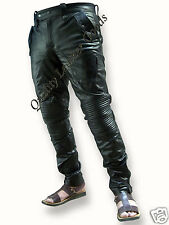 SYNTHETIC LEATHER MENS UNIQUE STYLE PADDED KNEE LUXURY PANT JEANS TROUSERS