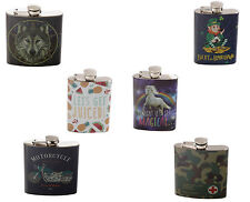 Stainless Steel hip flask Choice of design 4oz, 6oz party stag, hen, unicorn