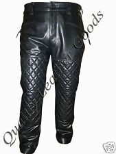 MENS PREMIUM SYNTHETIC LEATHER BREECHES BIKER JEANS PADDED SPANDEX PANTS BLUF